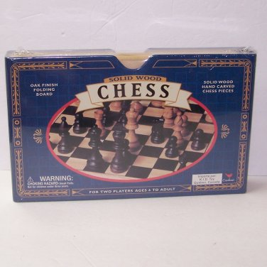 Solid Wood Chess: Oak Finish Folding Board - Solid Wood Hand Carved Chess Pieces