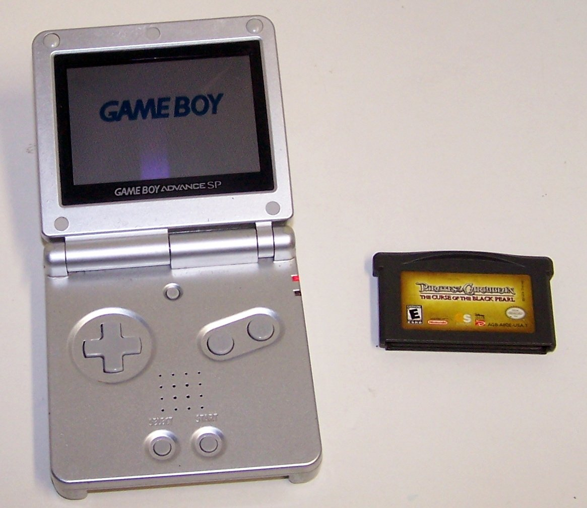 Nintendo Game Boy Advance SP Silver GBA SP with Pirate of the caribbean game