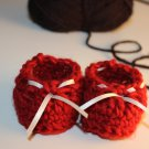 Red Ivory Ribbon Booties