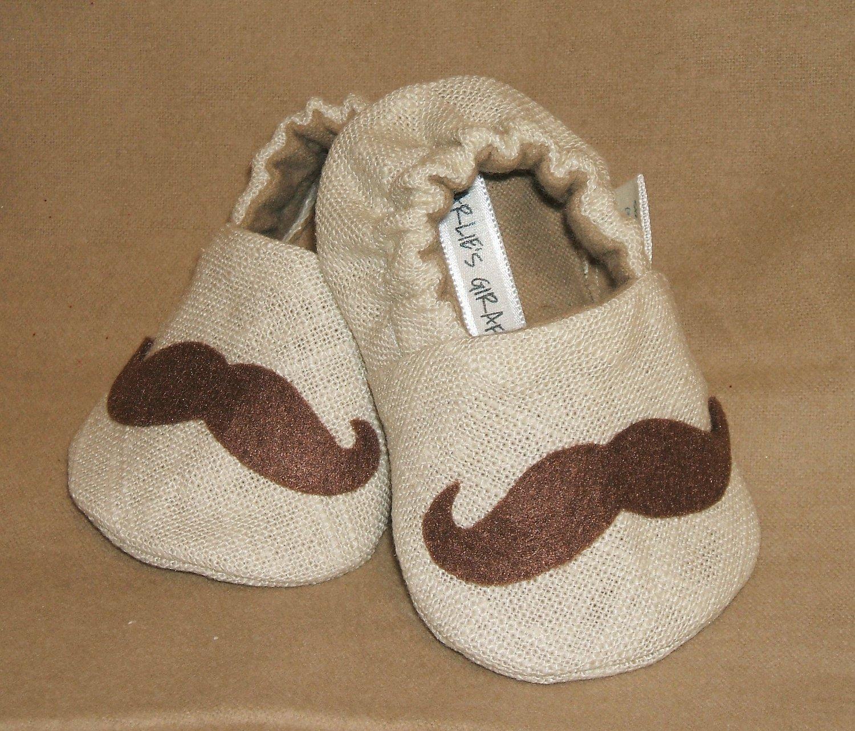 Baby Booties - Mustache - (6-9 mo)