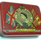 Vintage 1953 Queen Elizabeth II Coronation Souvenir Tin Red Collectible