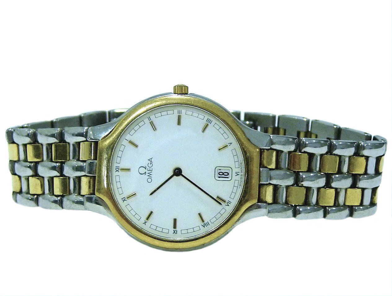 Omega DeVille Gold and Steel Midsize Watch 3961016 Swiss Authentic
