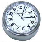 Tiffany & Co Stainless Desk Travel Clock Round Metal