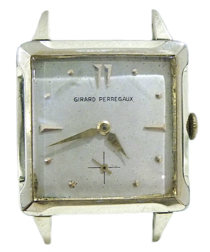 VINTAGE GIRARD PERREGAUX 10K GOLD FILLED SQUARE CASE LARGE MECHANICAL MENS WATCH SWISS