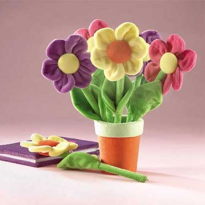 PLUSH FLOWER PEN IN POT HOLDER