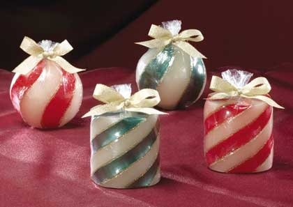 CANDY CANE CANDLE SET