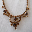 "Vintage Amber-colored Rhinestone 6-1/2"" Choker-style Necklace"