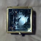 Mirrored Curio Jewelry Box, with Etched Swan, Brass Trim and Purple Glass