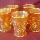 Vintage Grape Arbor Marigold Carnival Glass Tumblers, 8 OZ, Made by Northwood Glass