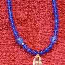 """Handcrafted, Artisan Jewelry Beaded Necklace, Crystal Blue Persuasion, 18"""" Long"""