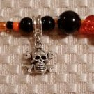 Handcrafted Eye Glass Holder, Halloween Theme Glass Beads and Skull & Crossbones Charm