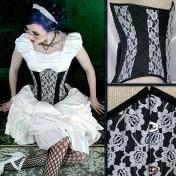 Sale! White & Black Silk Lace Corset