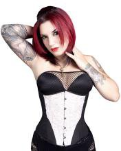 Solid Black with White Ruffle Corset