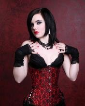 Scarlet Red and Black Long Corset