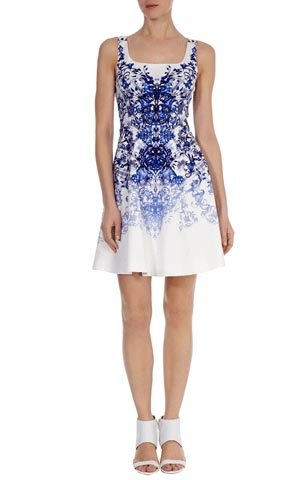 Cheap Karen Millen Printed A-line Dress Blue