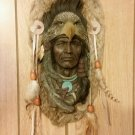 Vintage Native American Head - Wall Hanging  with real Rabbit Fur VTG NA
