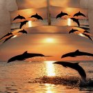 Strong and Vigorous Dolphin in the Setting Sun 4 Piece Cotton Bedding Sets 3D