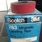 "*NEW* 5 ROLLS SCOTCH 3M 3/4"" RED Magnetic Labeling Tape 763 Label Maker Roll"