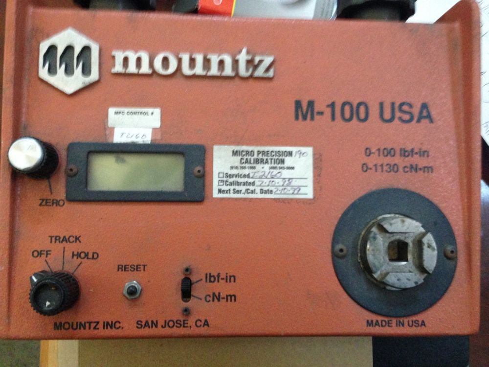 Mountz Torque Tester M-100 M100 Wrench 3/8 0-100 lb ft-in 0-1130 CN-M USA LBF/IN