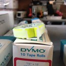 "10 Pack Dymo 1/2"" x 12' NEON YELLOW Embossing Tape Label Magazine Maker Printer"