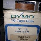 """10 Pack Dymo 1/4"""" x12' WOODGRAIN Embossing Tape Label Magazine Maker Printer"""