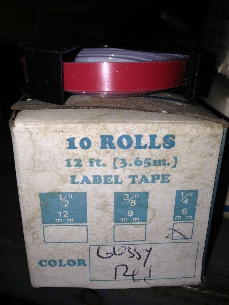 "10 PACK 1/4"" x 12' GLOSSY RED Embossing Tape Label Magazine Maker Printer DYMO"