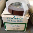 "10 ROLLS DYMO 3/8"" x 12' MATTE BROWN Embossing Tape Label Magazine Maker Printer"