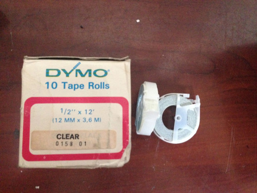 """10 Pack Dymo 1/2"""" x 12' CLEAR Embossing Tape Label Magazine Maker Printer Sign"""