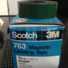 """*NEW* 5 ROLLS SCOTCH 3M 3/4"""" GREEN Magnetic Labeling Tape 763 Label Maker Roll"""
