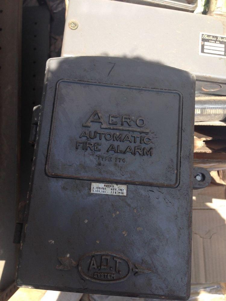 Antique ADT Aero Automatic Fire Alarm Type 774 - Cast Iron Box Vintage Old Auto