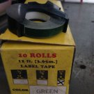 "1 Roll 1/4"" x 12' GREEN Embossing Tape Label Magazine Maker Printer Dymo 2300"
