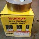"""10 PACK 1/2"""" x 12' GOLD Embossing Tape Label Magazine Maker Printer DYMO 2300"""