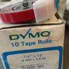 "10 Pack Dymo 1/4"" x 12' GLOSSY RED Embossing Tape Label Magazine Maker Printer"