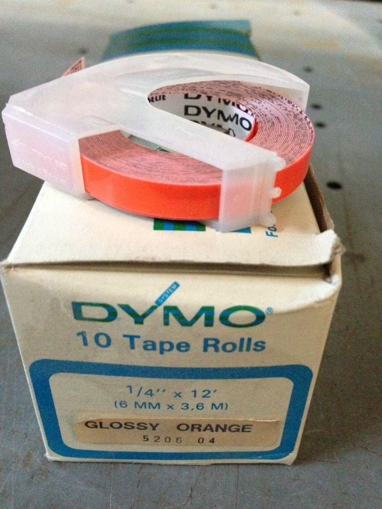 """10 Pack Dymo 1/4"""" x 12' GLOSS ORANGE Embossing Tape Label Magazine Maker Printer"""