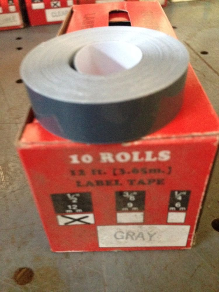 "10 Pack 1/2"" x 12' GRAY Embossing Tape Label Magazine Maker Printer 2300 Dymo"