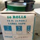 """10 Pack 1/4"""" x 12' GREEN Embossing Tape Label Magazine Maker Printer 2300 Dymo"""