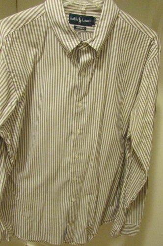 RALPH LAUREN Brown striped Custom Fit XL Shirt Cotton awesome