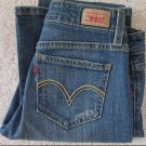 WOMENS LEVIS 518 SUPERLOW CUT STRETCH JEANS SIZE MEDIUM WITH LIGHT DISTRESSES