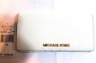 Michael Kors Jet Set Item Checkbook wallet signature PVC - White