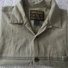 Mens Woolrich Short Sleeve Dress Shirt Button Front Gray Pattern Sz L