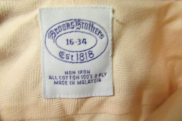 NEW  Brooks Brothers Men 16 34 PINK Non Iron 100'Ss 2 Ply Dress To Casual Shirt
