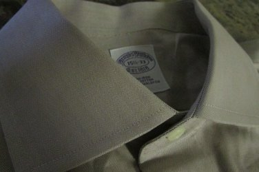 Brooks Brothers Mens 15 1/2 33 Brown Non Iron Dress To Casua Shirt  wow