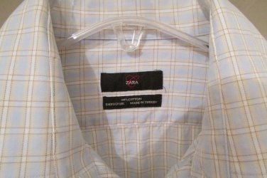 "ZARA MAN Brown/Blue Stripe Dress Shirt ""L"" 16 x 35"