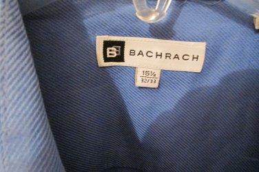 Bachrach Mens Button Front French Cuff BLUE Dress Shirt 15 1/2 32/43