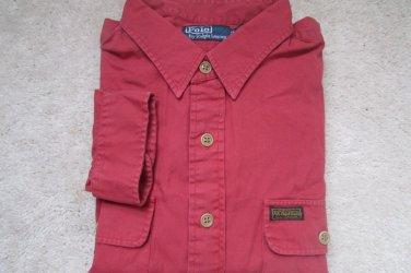 $98 NEW POLO RALPH LAUREN DARK ROSE DRESS SHIRT  MILITARY STYLE 2XL NWT