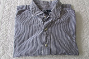 Polo Ralph Lauren LS Dress Shirt - Stripes - 18 XXL Custom Fit VERY NICE