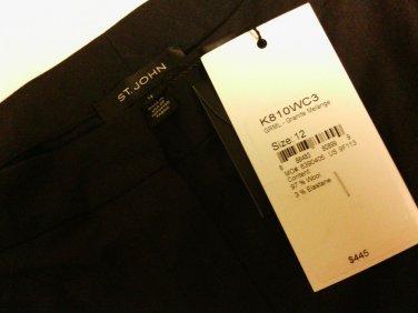 $ 445 NWT St. John Wool-blend Trouser Grey Women's Pants Size 12 VERY NICE!