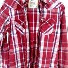 Hollister California Blue Red Pocket Dress Shirt Mens Size Medium M