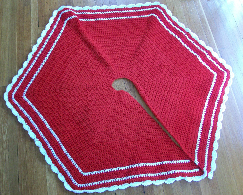 Handmade crocheted Christmas or holiday tree skirt
