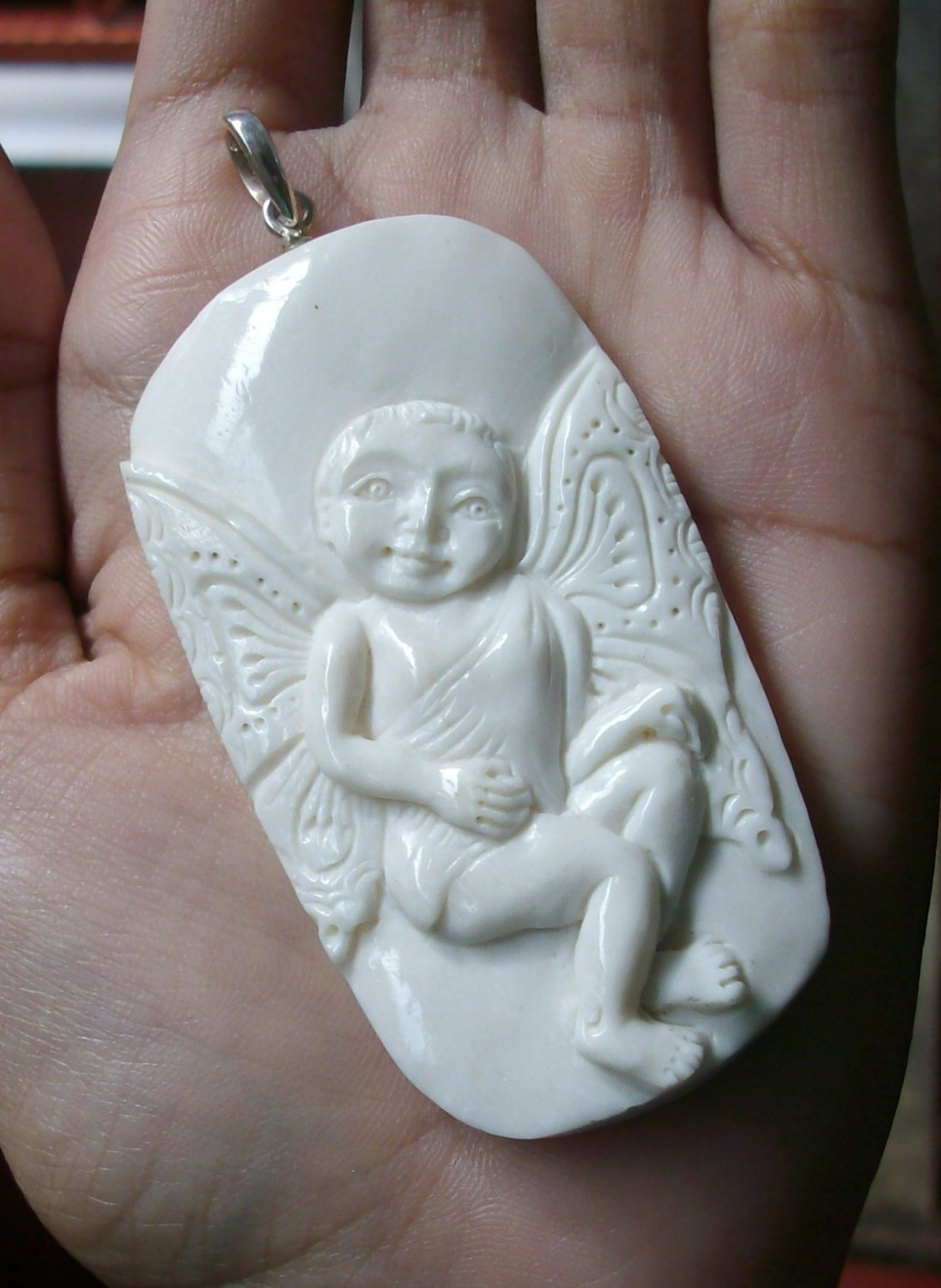 Bali Pendant Necklace Cupid Love Baby Angel From Buffalo Bone Carving w/ Silver Bail 925#r380